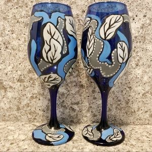 Other - 2 Hand Painted Wine 🍷 Glasses - Cobalt Blue, New